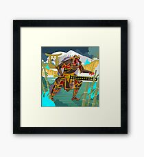 oni chinese japanese demon folklore troll with samurai armor in bamboo forest Framed Print