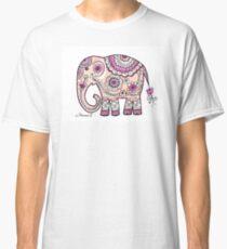 Hand painted elephant drawing illustration paisley art Classic T-Shirt