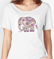 Hand painted elephant drawing illustration paisley art Women's Relaxed Fit T-Shirt