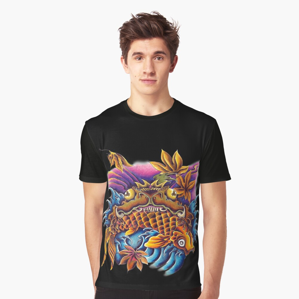 Frog Eating a Koi Fish Japanese FolkLore Graphic T-Shirt Front