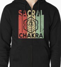 Yoga Sacral Chakra Vintage Retro Zipped Hoodie