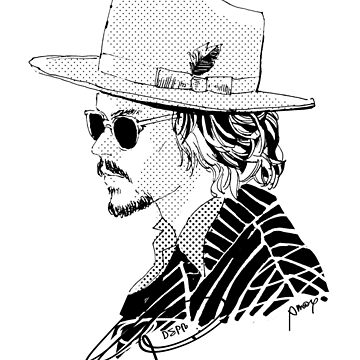 Johnny Depp with Hat and Sunglass by Amoy