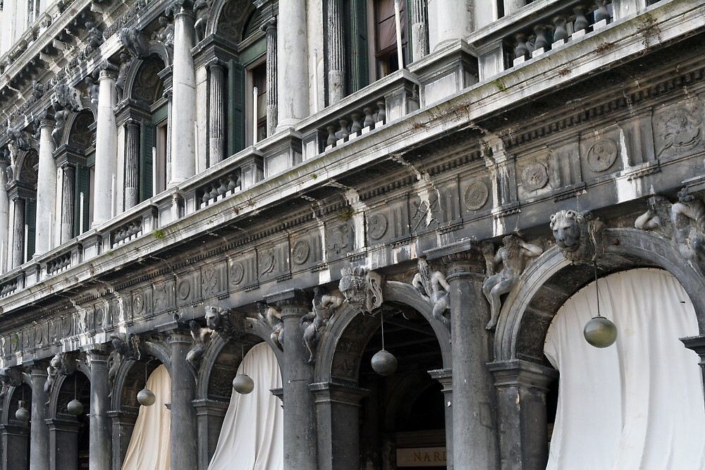 The facade of the old Venetian palace on the square of St. Mark by oanaunciuleanu