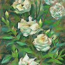 White roses, green leaves, pastel painting, floral art by clipsocallipso