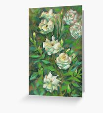 """""""White roses, green leaves"""", pastel painting, floral art Greeting Card"""