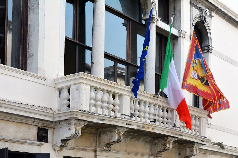 Classical building with flags: Italian, Venetian and European Union by oanaunciuleanu