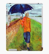 Painting illustration of people walking in the rain in nature with umbrellas  iPad Case/Skin