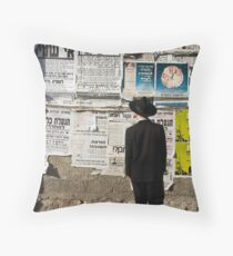 Announcements in the neigborhood of Mea She'arim. Throw Pillow