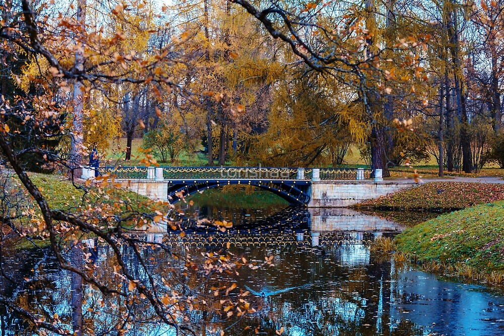 Autumn landscape with a  bridge by torishaa