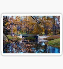 Autumn landscape with a  bridge Sticker