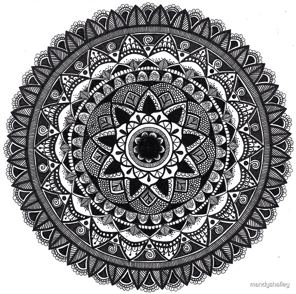 Black and White Petal Mandala by mandyshalley