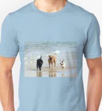 Three dogs at beach Unisex T-Shirt