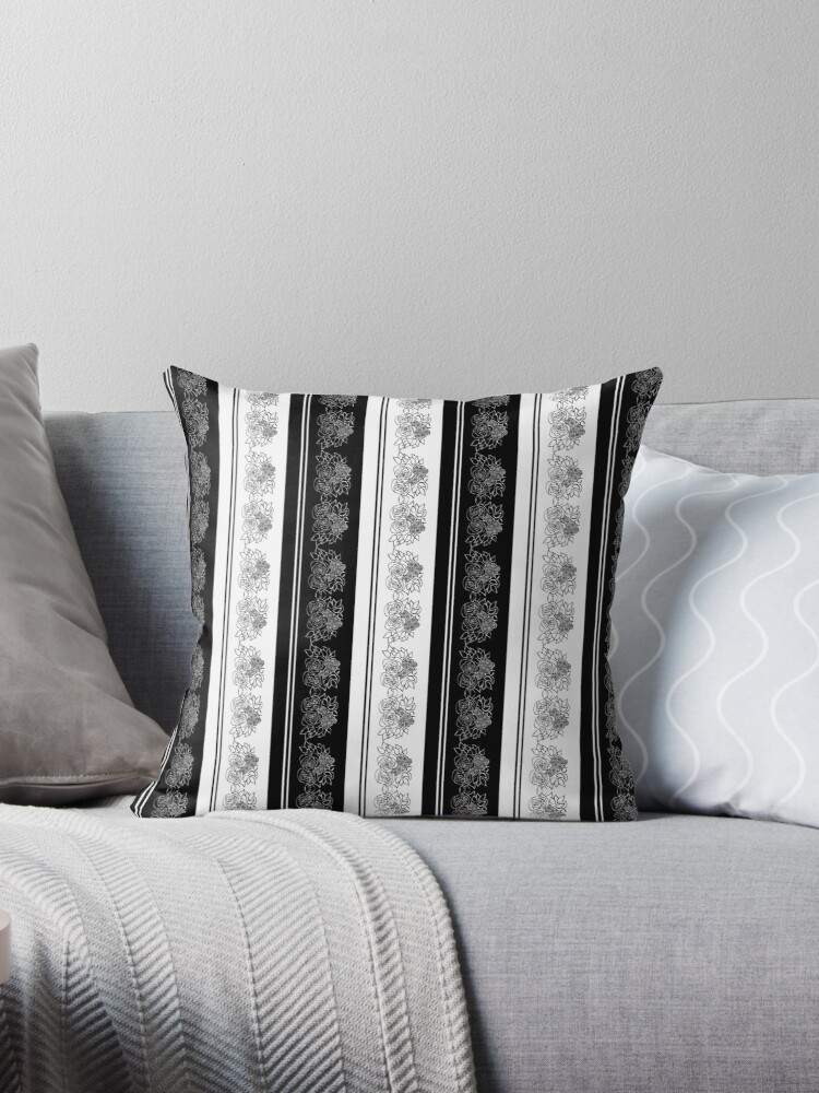 Black and white striped floral print by Annalee Beer