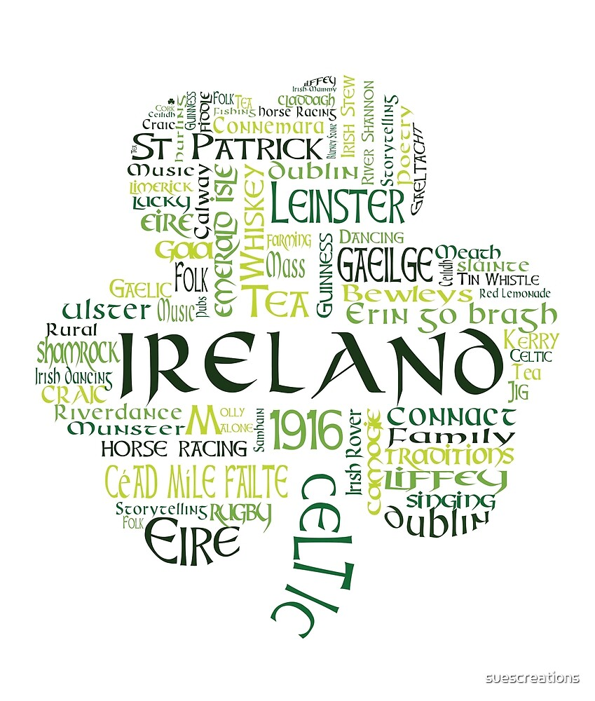 Ireland Shamrock Word Cloud - Irish  by suescreations