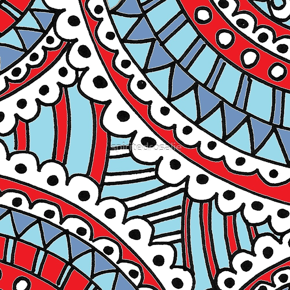 Doodle Art Colorful Medallions Freehand - Red Blue  by spiritedrosalie