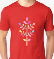 Red; Minimalist Floral Vector Stem; Spring Happiness Unisex T-Shirt