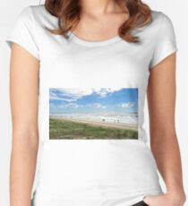 Beautiful sunny Aussie beach. Women's Fitted Scoop T-Shirt