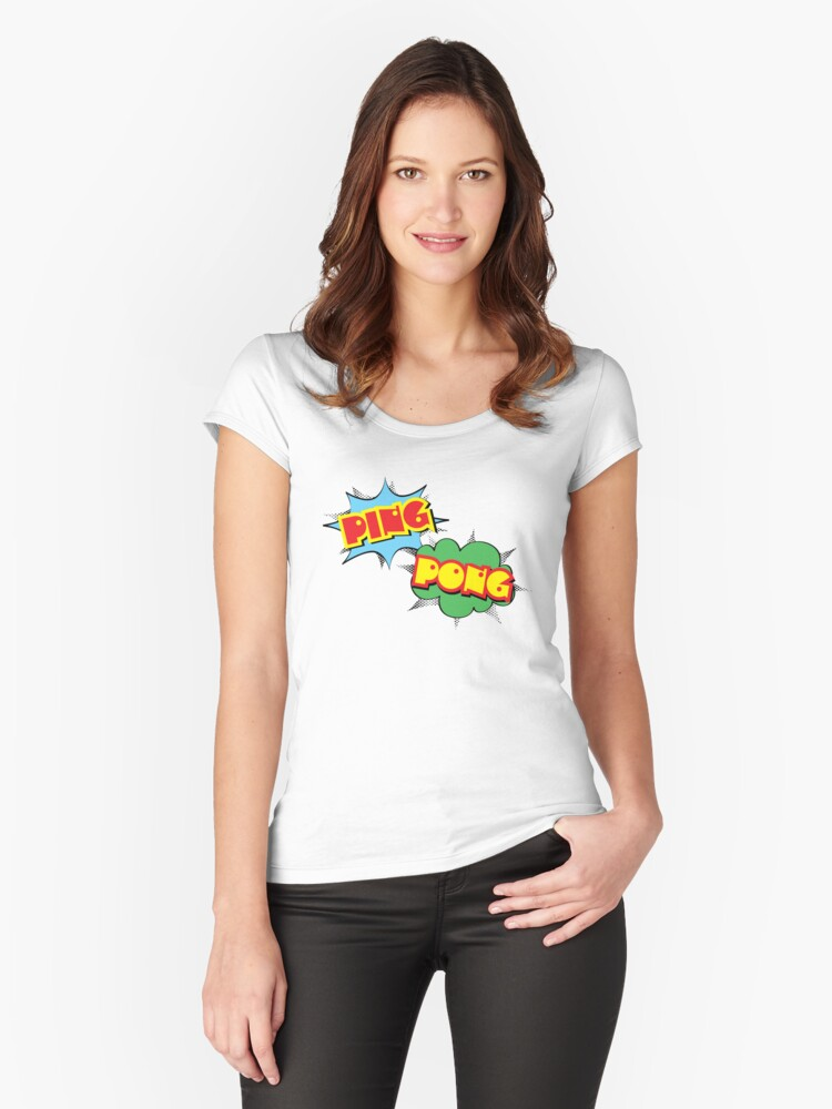 Ping Pong Pop Art Women's Fitted Scoop T-Shirt Front