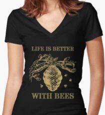 Life Is Better With Bees Shirt Women's Fitted V-Neck T-Shirt