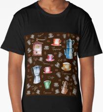 Coffee Pattern Long T-Shirt