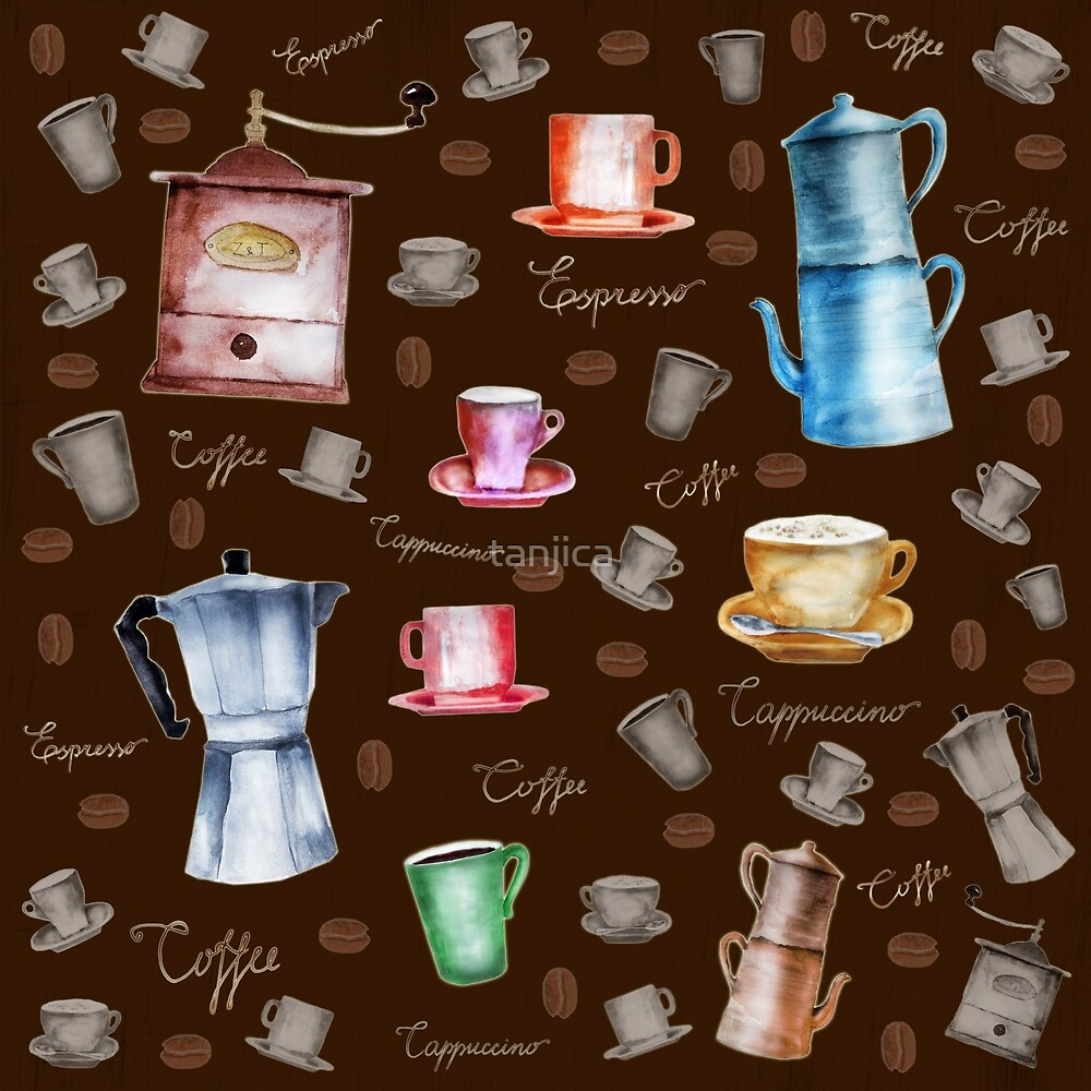 Coffee Pots and Cups Pattern by tanjica