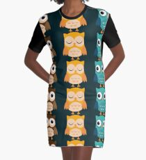 Cute Owls Chibi Graphic T-Shirt Dress