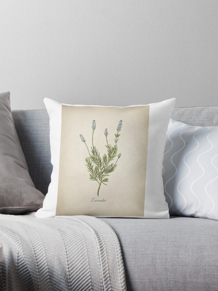 Lavender Throw Pillow. Vintage Garden.Herb Collection by Mia-Kara