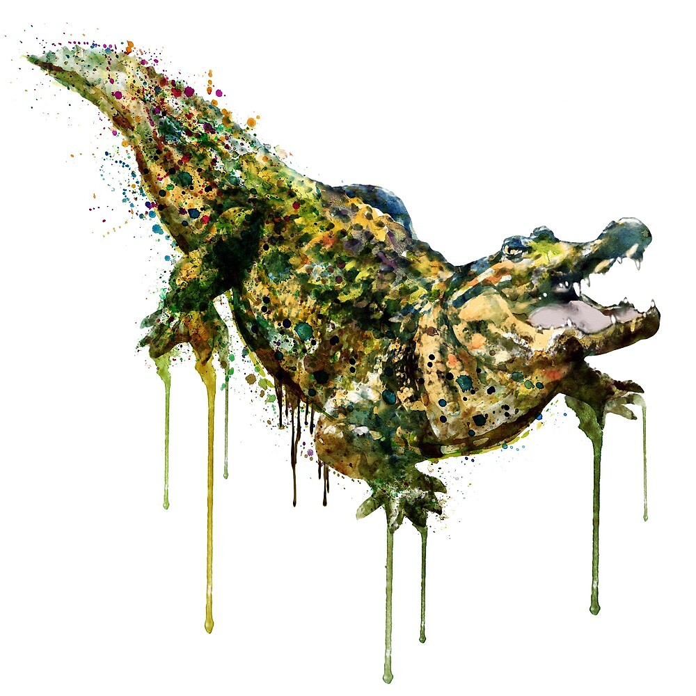 Alligator watercolor painting by Marian  Voicu