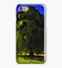 Green Tree with a Pink and Blue Sky iPhone Case/Skin
