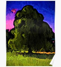 Green Tree with a Pink and Blue Sky Poster