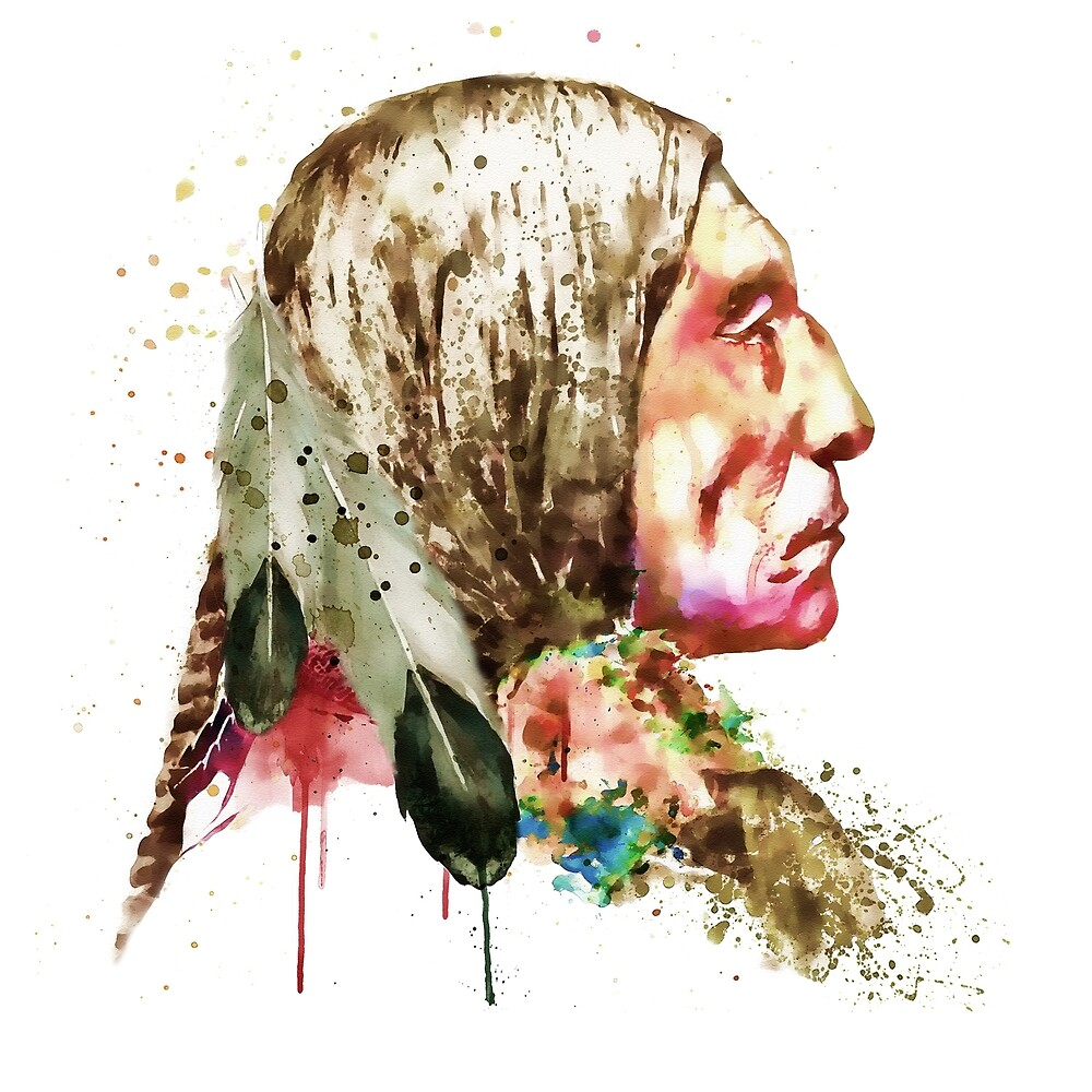 Native American Side Face by Marian  Voicu