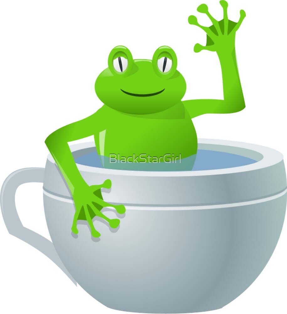 Funny Unexpected Frog in My Tea Cup by BlackStarGirl