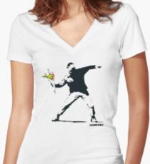 Banksy Rage Flower Thrower Women's Fitted V-Neck T-Shirt