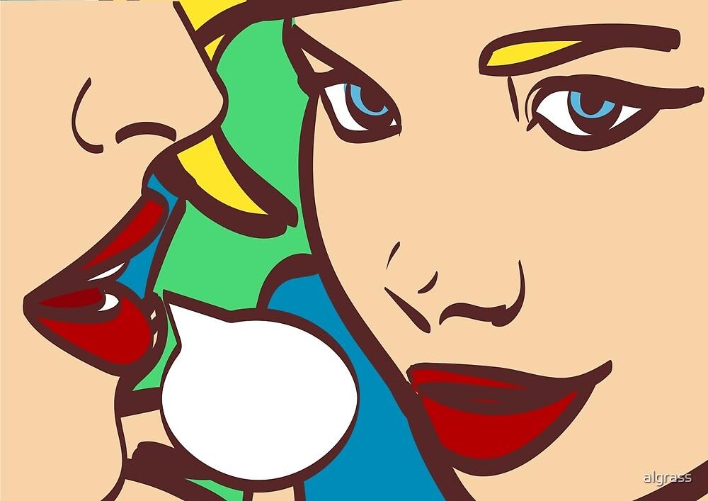 nice pop art retro comic  illustration. Woman whispering gossip or secret to her friend.  by algrass