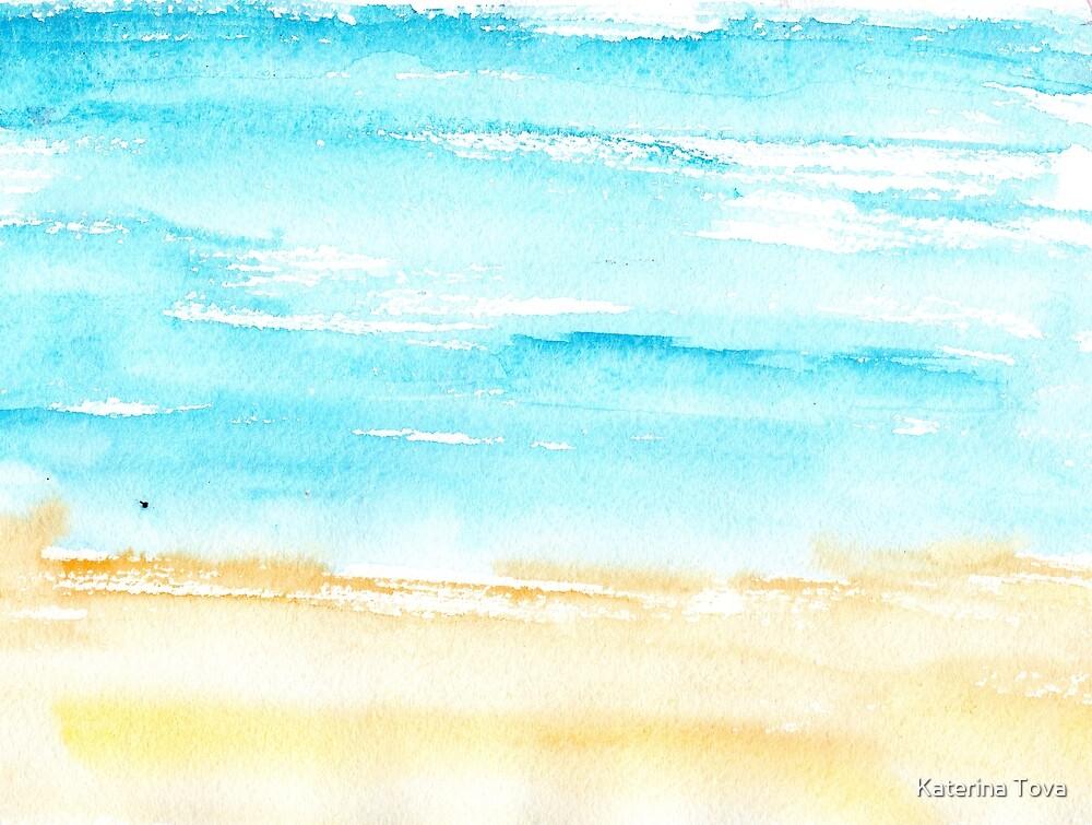 Sunny beach || watercolor by Katerina Izotova