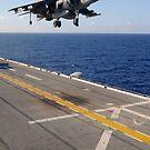 Ein AV-8B Harrier-Jet bereitet sich darauf vor, auf dem Flugdeck der USS Essex zu landen. von StocktrekImages