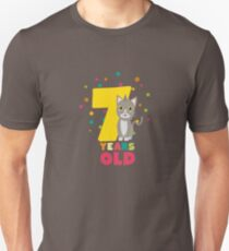 Seven Years seventh Birthday Party Cat Rkp39 Unisex T-Shirt