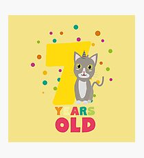 Seven Years seventh Birthday Party Cat Rkp39 Photographic Print