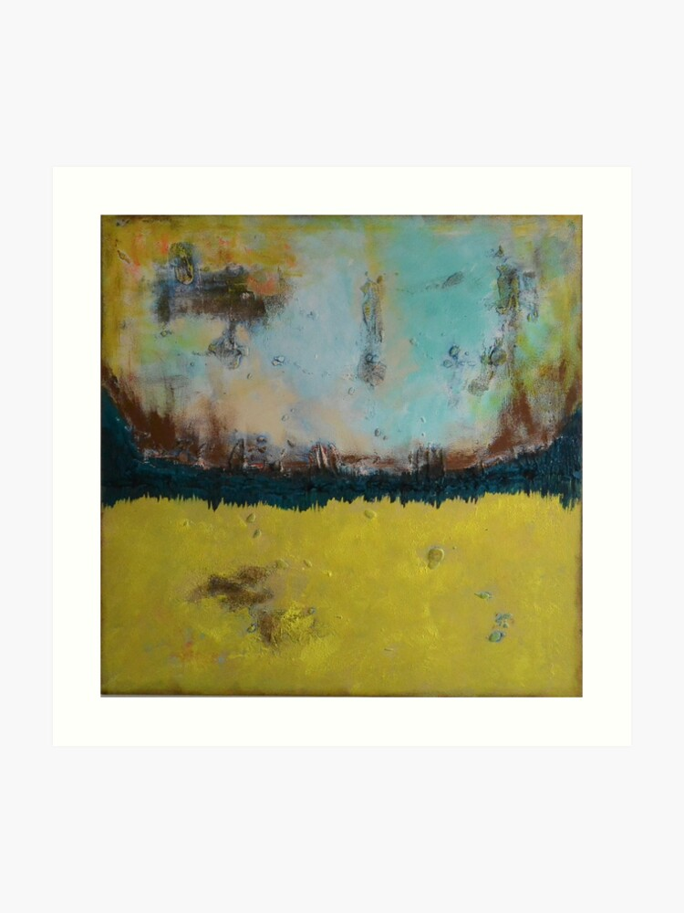 Square Yellow Abstract Painting Landscape Painting Mid Century