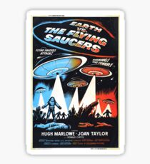 1956 movie poster earth vs flying saucers Sticker
