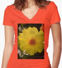 Yellow Dahlia Women's Fitted V-Neck T-Shirt