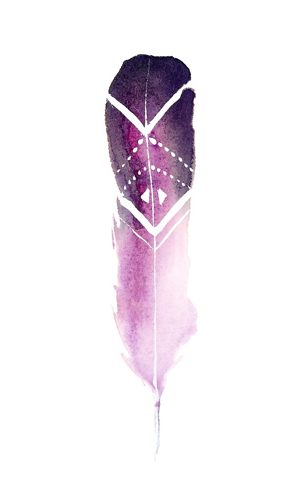 Purple Tribal Feather by coraeklund