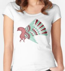 Pajarito #2 | Mexican Amate Style Bird Women's Fitted Scoop T-Shirt
