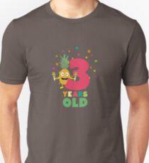 Three Years third Birthday Party Pineapple Ru73e Unisex T-Shirt