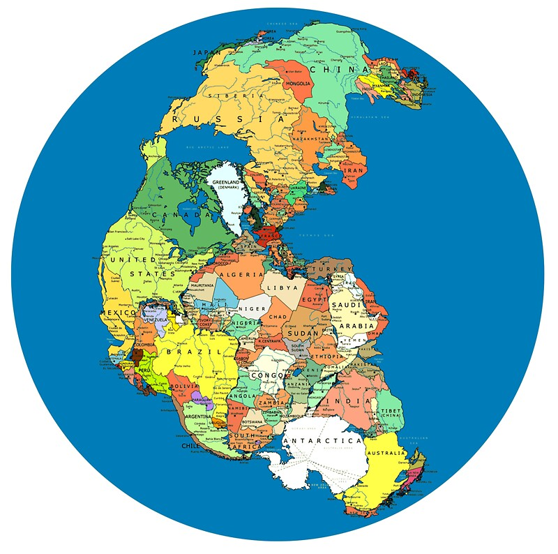 Pangea political world map stickers by branpurn redbubble pangea political world map by branpurn gumiabroncs Gallery