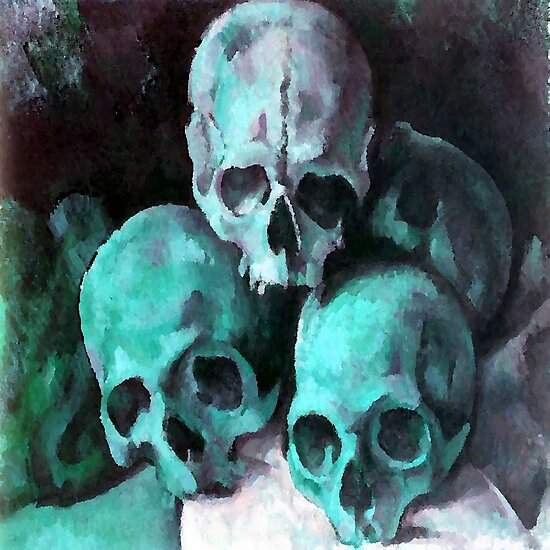 Pyramid of Skulls After Cezanne by taiche