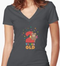 Two Years second Birthday Party Grizzly Rsk1c Women's Fitted V-Neck T-Shirt