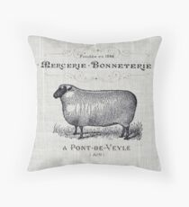 Primitive burlap french country farmhouse chic vintage sheep Throw Pillow