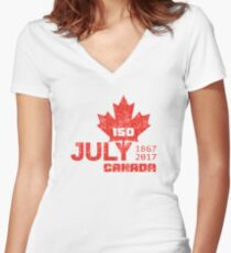 150 Year Jubilee CANADA - 150 Jahre Kanada  Women's Fitted V-Neck T-Shirt