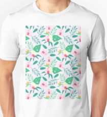Blush pink  green tropical flower of paradise orchid floral Unisex T-Shirt